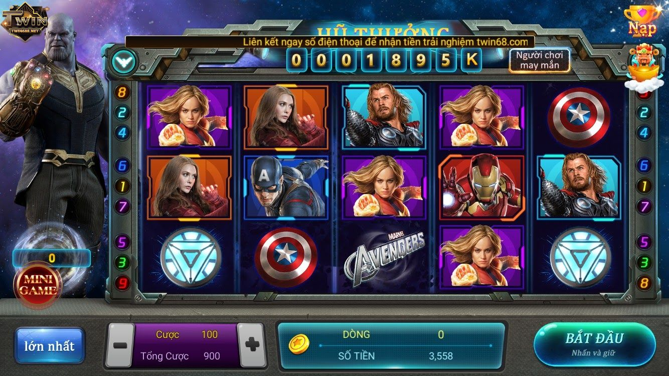 Giao diện game avenger twin68